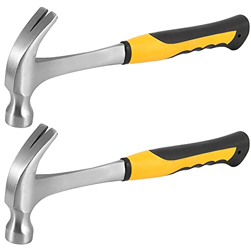 SEUNMUK 2 Pack Claw Hammer, 16 OZ One-piece Forged Steel Rip Claw Hammer with Non-slip Handle,...