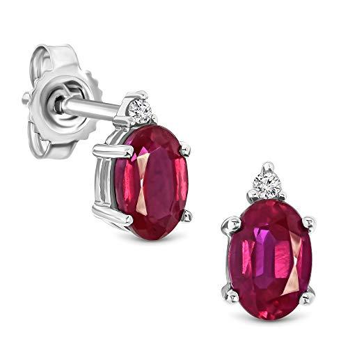 Miore Ohrringe Damen 0.02 Ct Diamant ovale Ohrhänger mit Edelstein/Geburtsstein Rubin in rot aus Weißgold 9 Karat / 375 Gold, Ohrschmuck mit Diamanten Brillanten