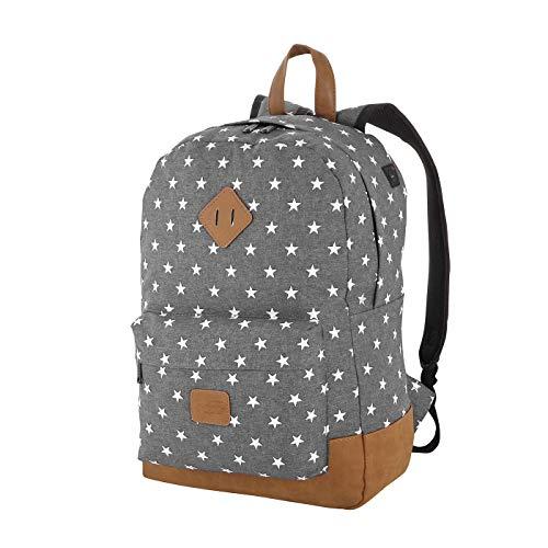 Rada Rucksack Schulrucksack mit Sternen Unisex Daypack für Jugendliche Mädchen (40 x 45 x 12,5 cm) (grau)