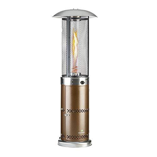 Blumfeldt Goldflame Deluxe Gasheizung mit 36.000 BTU / 11 kW Leistung, Gasofen ausgestattet mit 360° FireView: Brennerzylinder aus Temperglas, mobiler Katalytofen mit elektronischer Zündung, kupfer