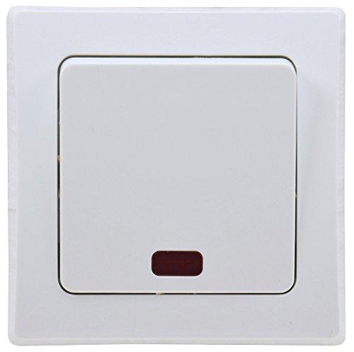 DELPHI Kontroll-Schalter mit Beleuchtung 230V Orientierungsschalter mit Rahmen Unterputz rotes Licht Weiß