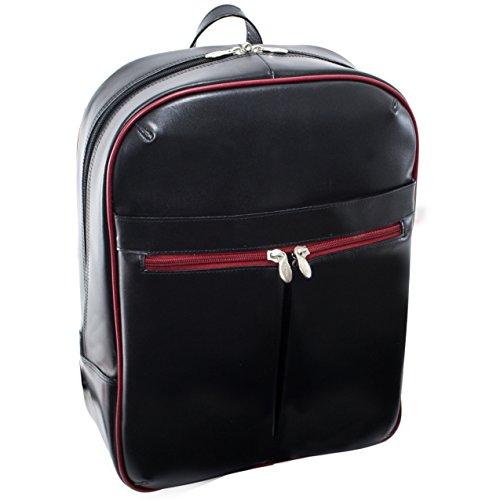 McKlein USA Avalon, 39,1cm Leder Laptop Slim Rucksack Black/Red Trim Einheitsgröße