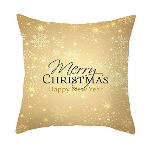 Zwzxyz Funda de cojín de Navidad 45x45cm Árbol de Navidad Dorado Fundas de cojín de Elfo de la Nieve Fundas de Almohada Decorativas para Festivales Fundas de Almohada