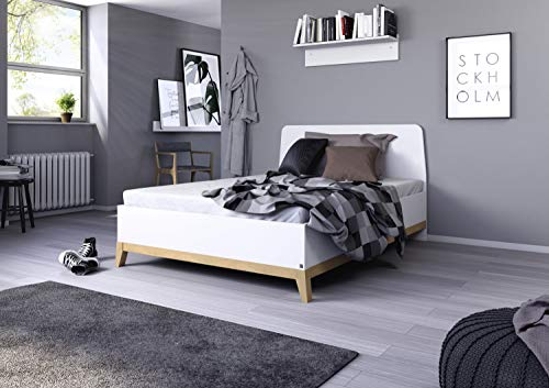 Rauch Möbel Carlsson Bett Doppelbett Futonbett in weiß, Absetzungen/Füße Eiche massiv, Liegefläche 160x200 cm, Gesamtmaße BxHxT 169x97x207 cm