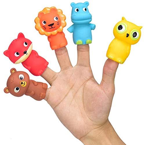 Marionetas de Dedo, 5 Piezas de Regalo para Fiestas, Juguetes de Mano de Animales de Dibujos Animados, Miembros de la Familia, Accesorios para la Hora de los Cuentos de bebé, Juego de Marionetas