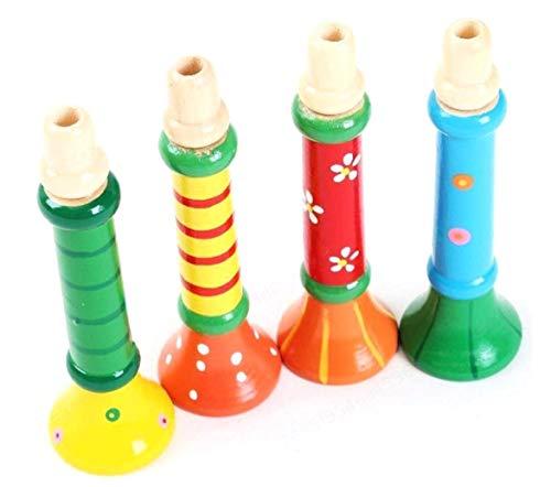 PRINDIY Musikspielzeug Multi-Color , Für Baby Kinder Langlebig und praktisch aus Holz Horn Hooter Trompete Instrumente Musikspielzeug - Zufällig