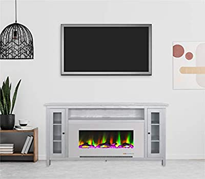 Cambridge Somerset 70-in.TV Stand with Multi-Color LED Flames, Driftwood Log Display, and Remote Control