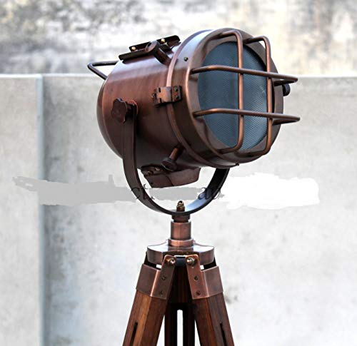 Handmade Copper Floor lamp with Wooden Tripod Nautical Modern searchlight Home & Office Decorative lamp Light Gift