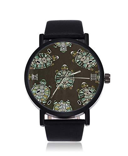 Handgezeichnete Schildkröte Mode Damen Armbanduhr Quarz Edelstahl Lederarmband Casual Watch