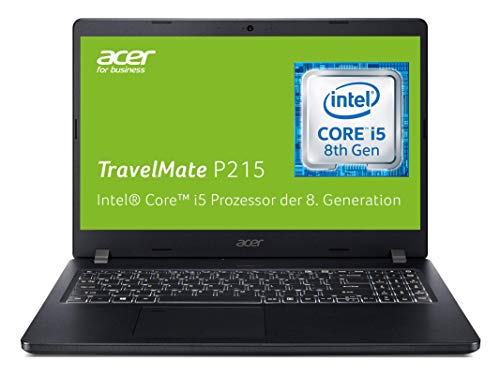 Acer TravelMate P2 (TMP215-51-54T0) 39,6 cm (15,6 Zoll Full-HD IPS) Business-Laptop (Intel Core i5-8250U, 8 GB RAM, 256 GB PCIe SSD, Intel UHD, Win 10 Pro) schwarz