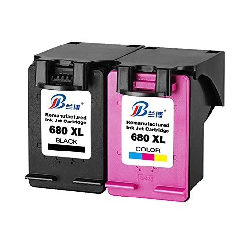 HLDC Reemplazo de Cartucho de Tinta Compatible para HP 680XL, Adecuado para la Impresora de la Serie DeskJet Tinta 3635 3636 3638 3838 2600 5000 5200,Black+Tricolor