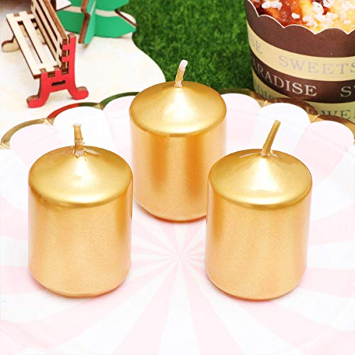 OSALADI Velas de té sin Humo, decoración de Boda, cumpleaños, Velas Doradas, Fragancia de Columna de Cera, 3 Unidades