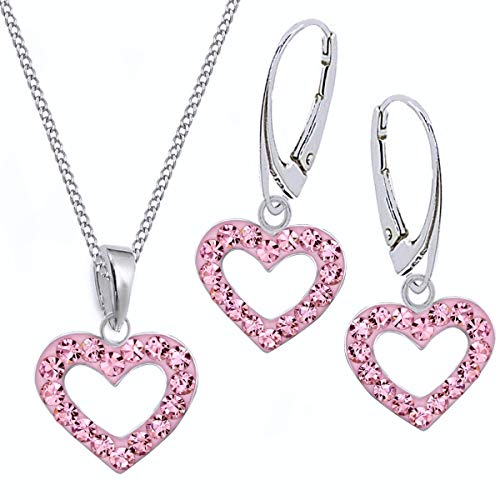 Rosa Kristall Herz Brisur Ohrringe + Anhänger + Halskette 925 Echt Silber Kinder Mädchen Set (45)