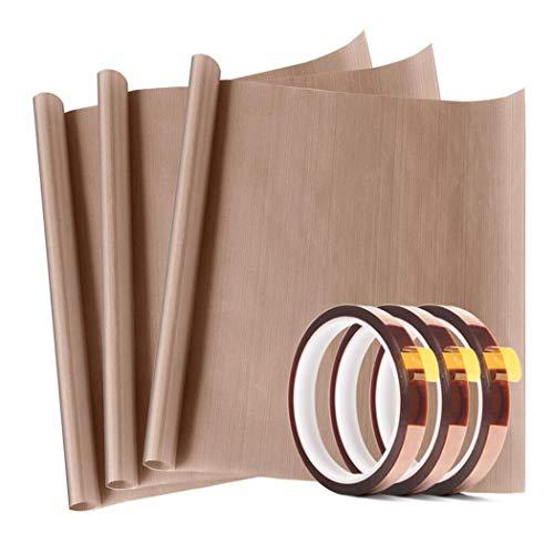 3 Pack PTFE Teflon Sheet 12 x 16' and 3 Rolls 10mm X 33m Heat Resistant...