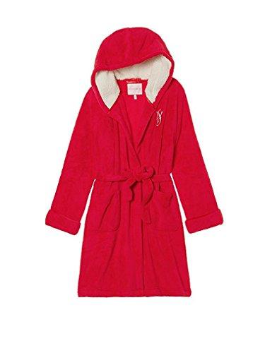 Victoria's Secret Monogrammed Short Hooded Plush Robe Red Small