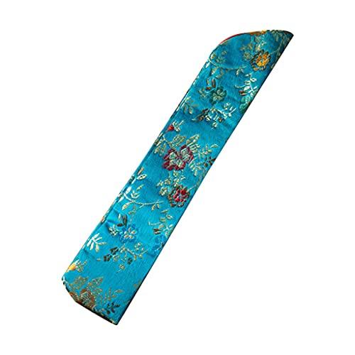 ERUYN Bolso con Funda para Abanico de Mano Bordado Vintage Funda de Abanico Plegable de Mano con Estampado Floral Azul