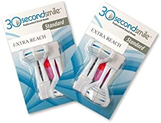 30 Second Smile - Extra Reach Standard Soft (2 Pack) Replacement Dual Heads - Reduces Plaque, Whiter Teeth, Healthier Gums, Fresher Breath - Dentist Recommended