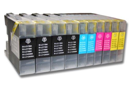 vhbw 10x TINTENPATRONEN DRUCKERPATRONEN PATRONEN passend für Brother MFC-Serie, DCP-Serie ersetzt LC-1280BK, LC-1280XLBK, LC-1280C etc.