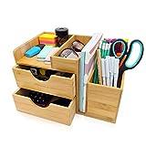 dgregio Schreibtisch Organizer Bambus Nachhaltiger Büroorganizer mit Stiftehalter, Stifteköcher und Schubladen für Büromaterial HxBxT: 16,5x27x16 cm