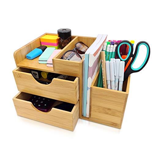 Organizador de escritorio de bambú, Almacenamiento multifunctional para oficina con soporte para bolígrafos, portalápices y cajones,16,5 x 27 x 16cm