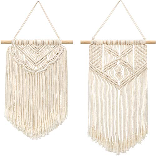 "Mkono 2 Pcs Macrame Wall Hanging Small Art Woven Wall Decor Boho Chic Home Decoration for Apartment Bedroom Living Room Gallery, 13"" L x 10"" W and 16"" L x 10"" W"
