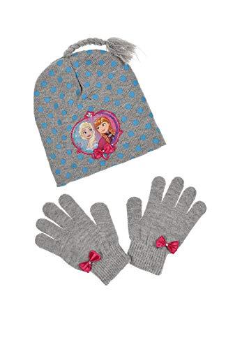 Frozen - Die Eiskönigin Anna ELSA Kinder-Winter Set 2-TLG. Mütze & Handschuhe Grau, Größe:52