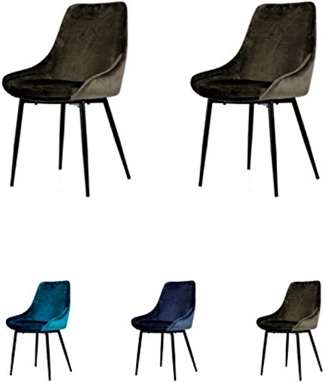 Tenzo Lex 2er-Set Designer Stühle, Metall, Braun Grau, 85 x 47,5 x 56 cm (Hxbxt), Sitz   Stahl mit Schaum. Stoff   100% Samt, Braun-Grau Schwarz, Samtsitz