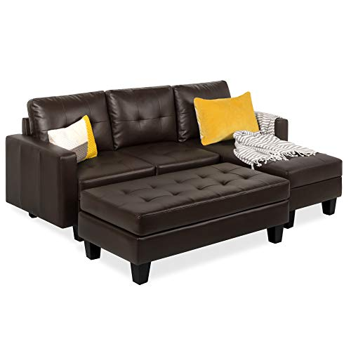 Best Choice Products 3-Seat L-Shape Tufted Faux Leather Sectional Sofa Couch Set w/Chaise Lounge, Ottoman Bench - Brown