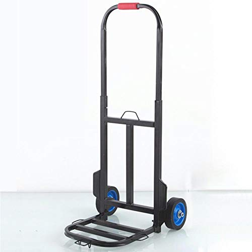 MIZE Steel Folding Carry Trolley With Anti Puncture Solid Wheel and 130 kg Capacity,Black Shopping Bags on Wheels for Backpack