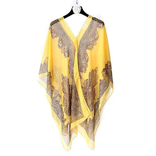 Huaheng 1 st Vrouwen Sjaal Boho Bloemen Print Chiffon Zonwerende Beach Bikini Cover Up voor Zomer ginger yellow