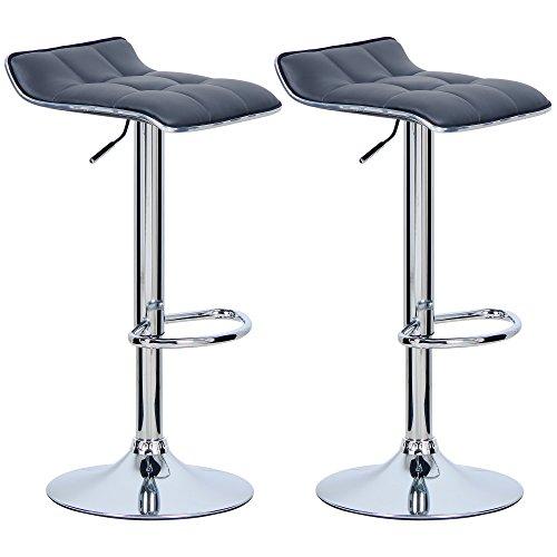 WOLTU BH28gr-2 2X Barhocker 2er Set Barstuhl Tresenhocker, aus hochwertigem Kunstleder, verchromter Stahl, Antirutschgummi,gut gepolsterte Sitzfläche, Grau