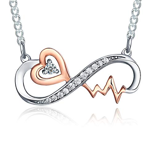 """""""Infinity Heartbeat"""" Rose Gold And Sterling Silver Infinity Nurse Pendant Necklace Jewelry Gifts for Women Er Practitioner Lvn Future Nursing Mom Daughter Sister Birthday Graduation Christmas Present"""