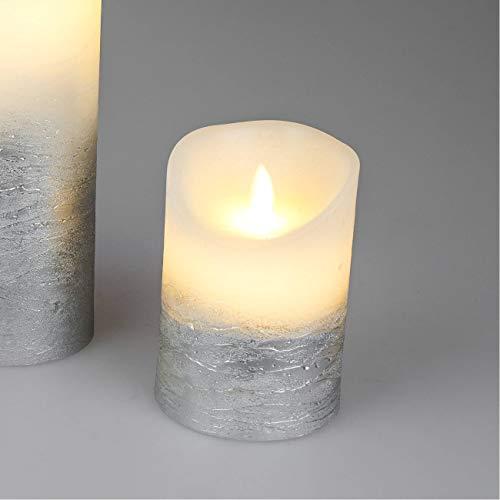 formano LED Kerze mit Wackeldocht D. 9cm H. 13cm weiß Silber