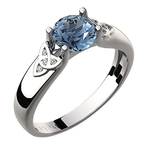 GWG Jewellery Anillos Mujer Regalo Anillo Celta Plata de Ley Circonita Grande de Color Aguamarina Azul Marino Adornado con Nudos de Trinidad Incrustados con Cristales - 10 para Mujeres