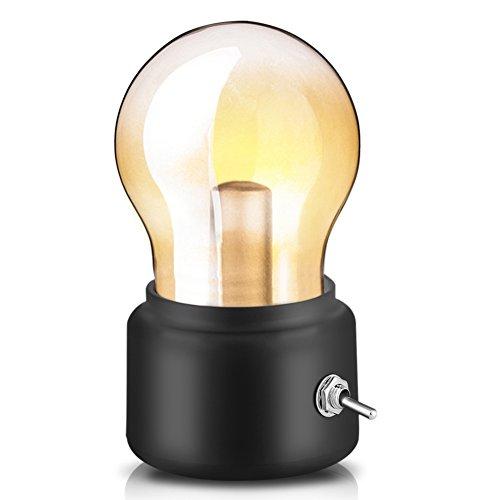 Retro lampada di lampadina, USB ricaricabile LED Night Light Mini comodino scrivania lampada a risparmio energetico ed elegante per l'illuminazione da comodino camera da letto(Nero)