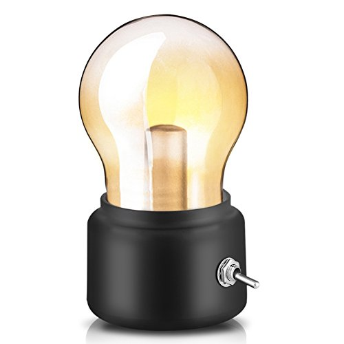 Retro Birne Lampe USB wiederaufladbare LED Nachtlicht Mini Nachttisch Schreibtischlampe Energiesparende 0026 elegante für Schlafzimmer Nachttisch Beleuchtung(Schwarz)