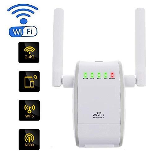 WiFi repeater versterker signaal WiFi extender 2.4GHz WiFi 300Mbps range extender router draadloze repeater 2 externe antenne wandcontactdoos compacte booster en draadloze signaalrepeater