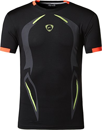 jeansian Herren Sportswear Quick Dry Short Sleeve T-Shirt LSL187_Black L