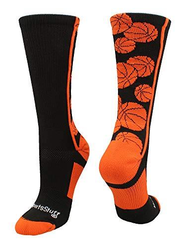 MadSportsStuff Crazy Basketball Logo Crew Socks (Black/Orange, Medium)