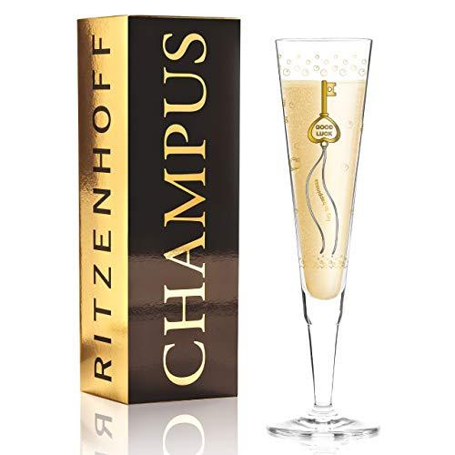 RITZENHOFF Champus 1070259 - Copa de champán, cristal, oro, platino, negro
