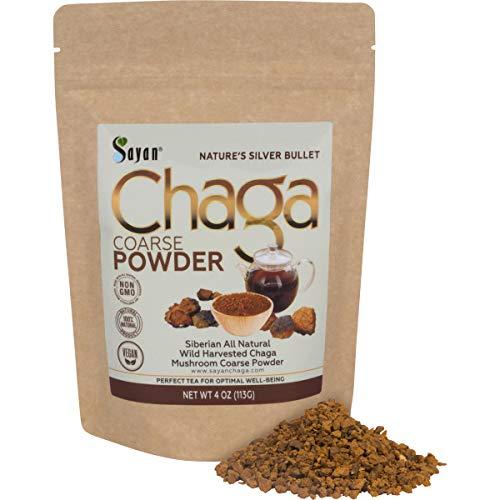 Sayan Siberian Raw Coarse Chaga Powder 4 Oz (113g) - Wild Forest Mushroom Tea, Powerful Adaptogen Antioxidant Supplement, Support for Immune System, Digestive Health and Helps Inflammation Reduction