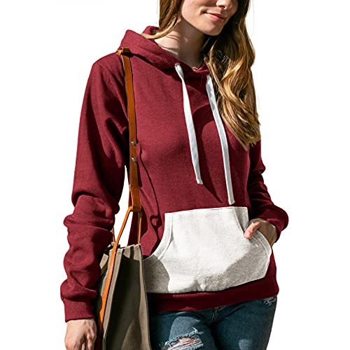 Sunggoko Sudadera con capucha para mujer, gruesa, para otoño e invierno, con capucha, color de contraste, para ocio, deporte, manga larga, de algodón, talla 14