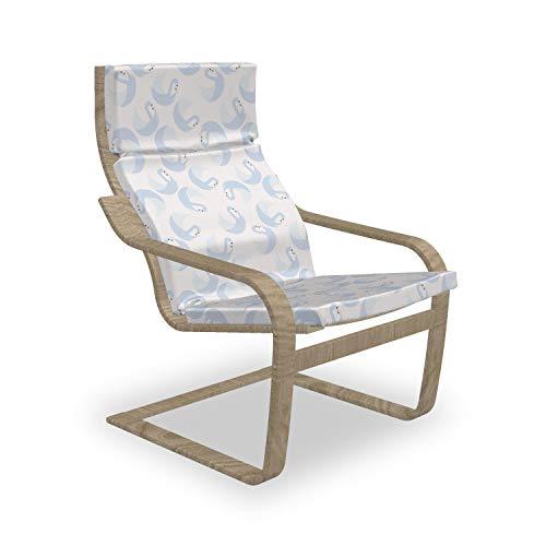 ABAKUHAUS Swans Poäng Sessel Polster, Pastell Gracious Wasservögel, Sitzkissen mit Stuhlkissen mit Hakenschlaufe und Reißverschluss, Baby Blue Burnt Orange