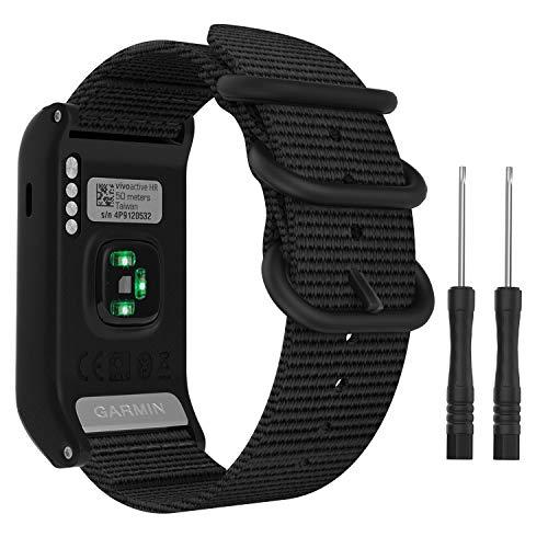 MoKo klockarmband kompatibelt med Garmin Vivoactive HR, fin vävd nylon justerbar ersättningsrem med metallspänne passform Garmin Vivoactive HR sport GPS smart klocka, Svart