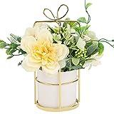 Jarrón Artificial con Flores,Jarrones para Sala de Estar,Arreglo de Decoración de Jarrones,Jarrón de Flores de Simulación para Decoración de Mesa,Hogar, Oficina y Boda Yellow