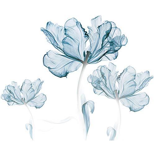 Stickers muraux Amovibles 3D Light Blue Flower DIY Wall Art Décor Stickers pour Chambre Nursery Filles Chambre Salon Salle de Bain, 71x43 Pouces