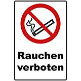 Schild Rauchen verboten Schild Verbotszeichen Mehrfarbig 30 x 20 x 0,3 cm Hartschaumplatte...
