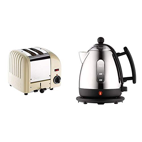Dualit Classic 2 Slice Vario Toaster|Utility Cream, 20247 & Lite Kettle | 1 L 2 kW Jug Kettle | Polished with Black Trim, High Gloss Finish | Fast Boiling Kettle by Dualit | 72200