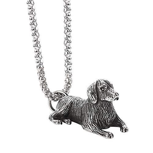 Collar Vintage Golden Pug Colgante Collar Mascota Perro Gran Colgante Encantos Collares Gargantilla Joyas para Mujeres Hombres Perro