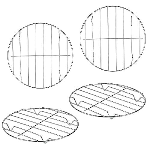 Supkiir 4 Pack Round Cooking Cooling Racks 304 Stainless Steel Round Rack for Steaming Baking and Air Fryer Pressure Cooker Oven amp Dishwasher Safe79quotx07quot